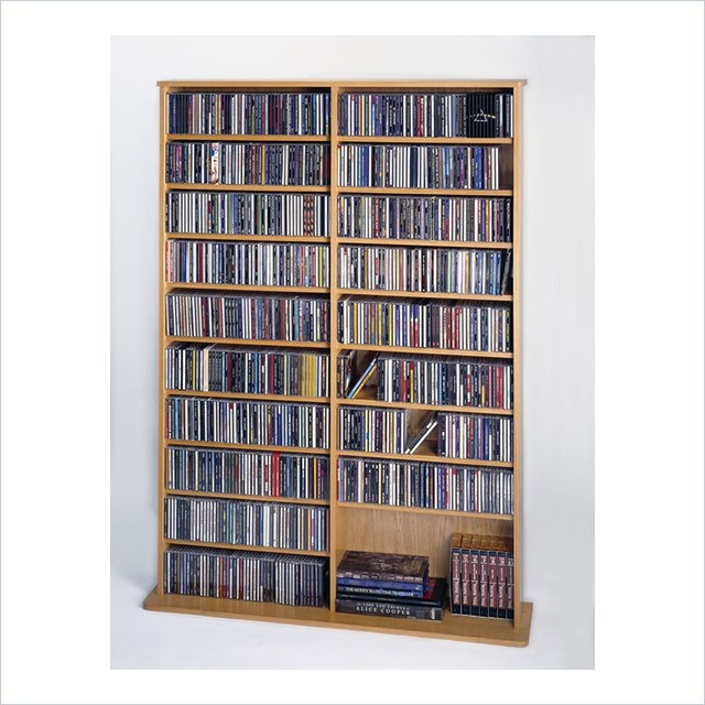 Leslie Dame CD/DVD Wall Rack Media Storage in Oak - Transitional - Media Racks And Towers - by Cymax