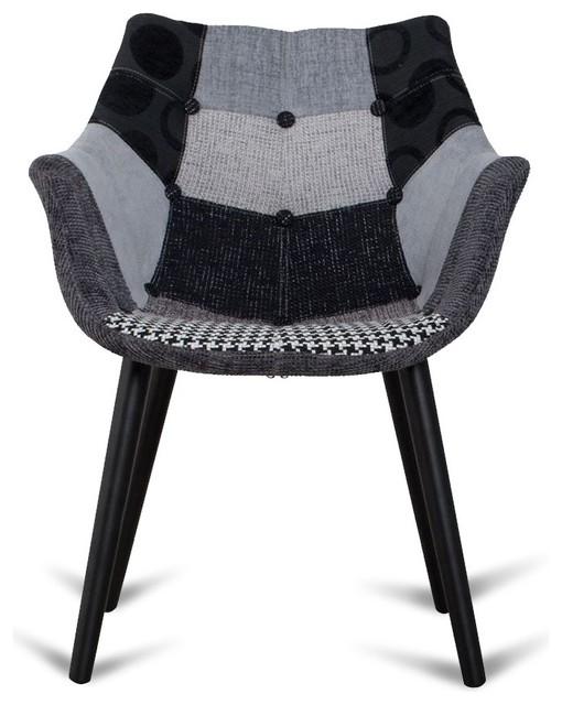 chaise eleven patchwork gris et noir couleur gris noir scandinave chaise de salle manger. Black Bedroom Furniture Sets. Home Design Ideas
