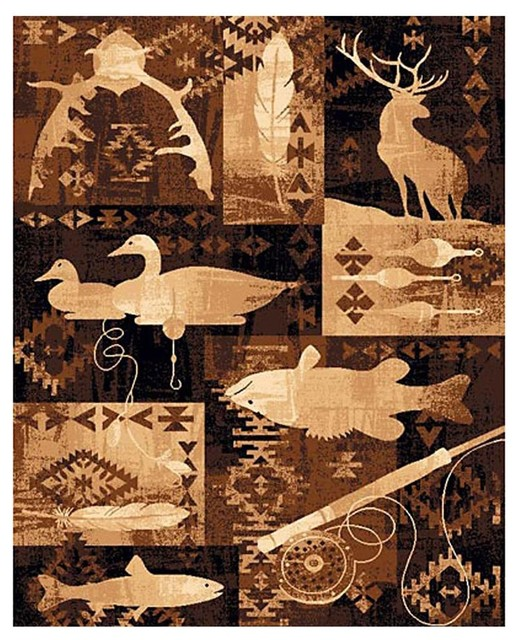 Goose, Fish And Deer Area Rug