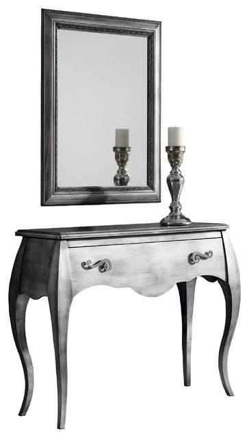 Recibidor retro con marco espejo color plata envejecida - Muebles comodas y cajoneras ...