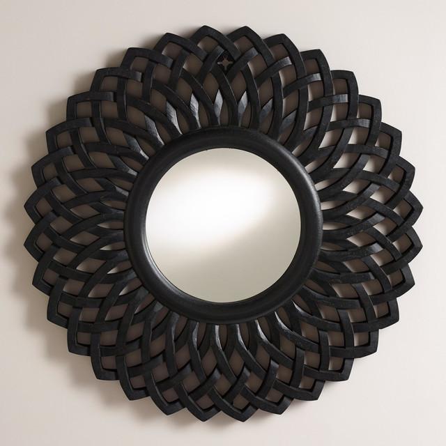 Black round woven charu mirror modern wall mirrors for Round black wall mirror