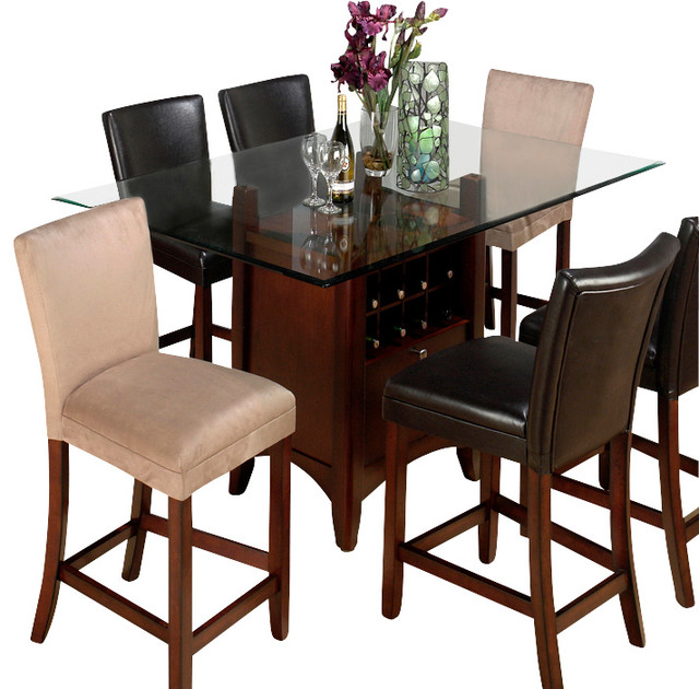 glass top counter height dining table 1