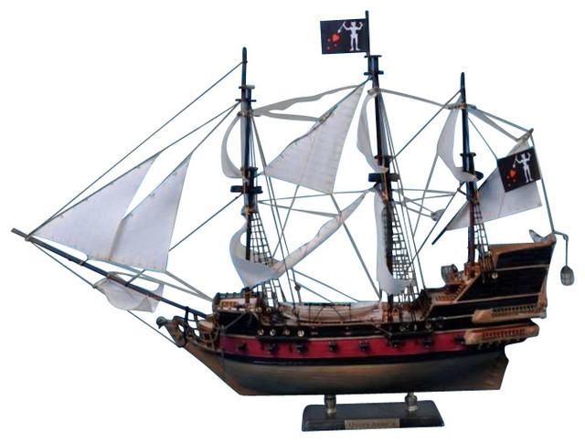Blackbeard s queen anne s revenge model pirate ship white sail 24