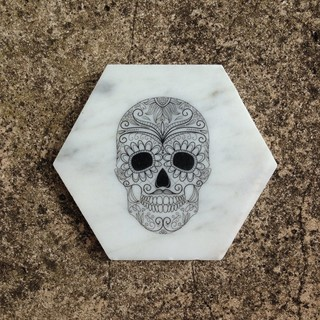Skull Bathroom Sink : SUGAR SKULL HEXAGON - SET OF 4 - Contemporary - Coasters - sydney - by ...