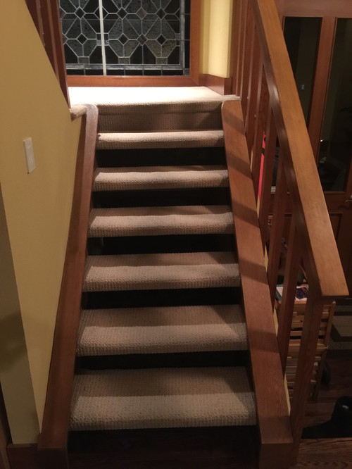 How should i redo carpeted open riser riser less stairs for Ideas for redoing stairs