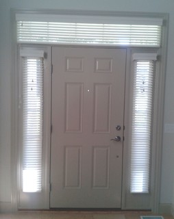 sidelight window treatments blinds in side windows and above the front door. Black Bedroom Furniture Sets. Home Design Ideas