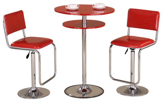 Red Pub Table and Two Red Bar Stools - Modern - Indoor Pub And Bistro Tables - by Urban Galleria LLC