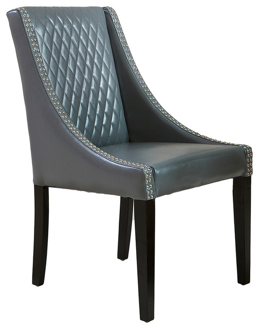 Kensington Slopped Arms Leather Chair Transitional