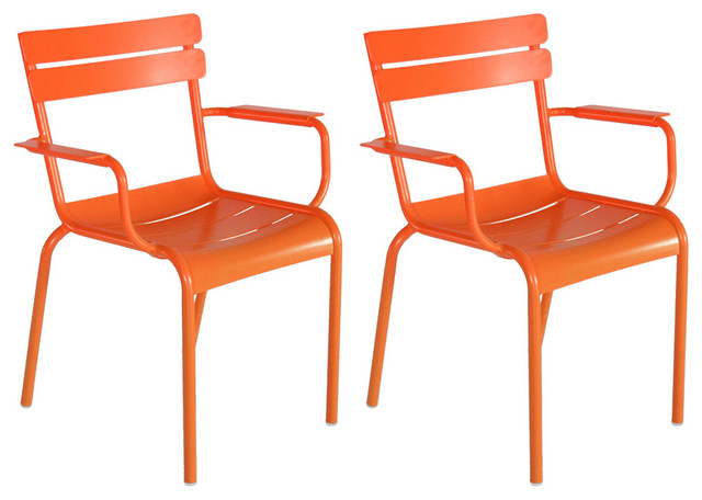 Orange Luxembourg Side Chairs Pair Contemporary Outdoor Lounge Chairs