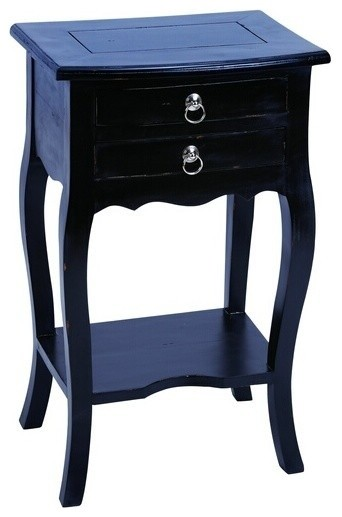 Wooden accent table in black finish with functional design for Functional side table