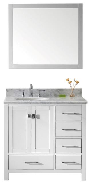 Caroline Avenue 36 Single Bathroom Vanity Cabinet Set White Round Sin