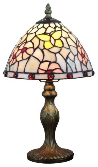 Antique Tiffany Butterfly Glass Shade Bedroom Table Lamps