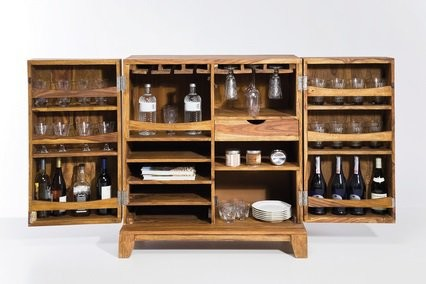 Mini bar wood 2 portes contemporain meuble bar par inside75 - Meuble bar contemporain ...