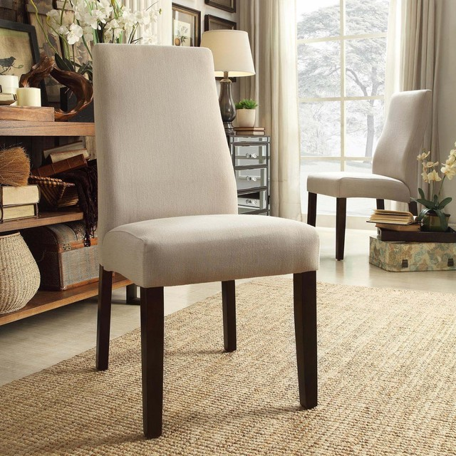 Inspire q marcey grey fabric wave back dining chair set for Inspire q dining room chairs