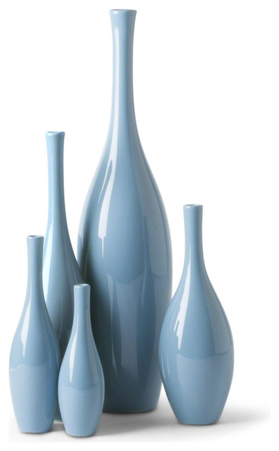 Bliss Modern Tulip French Blue Ceramic Vases Set Of 5