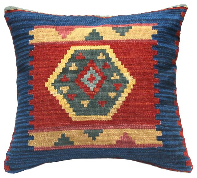 Southwestern Decorative Pillows : Kilim Handmade Wool Cushion Pillow, Blue, Red, and Yellow - Southwestern - Decorative Pillows ...