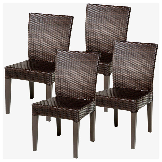 4 Pluto Saturn Armless Dining Chairs Modern Outdoor Dining Chairs by