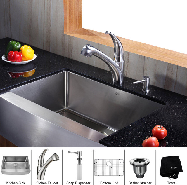 30 Inch Farmhouse Sink Stainless Steel : Kraus 30 inch Farmhouse Single Bowl Stainless Steel Kitchen Sink with ...