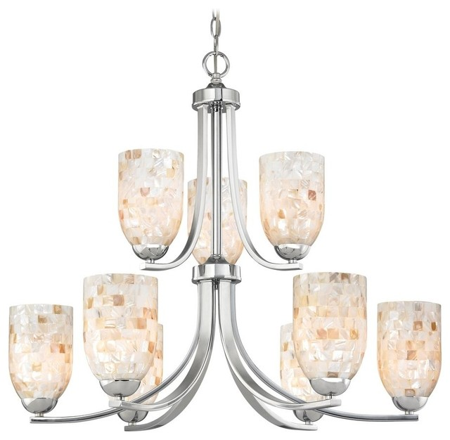 Chandelier with Mosaic Glass Glass in Polished Chrome