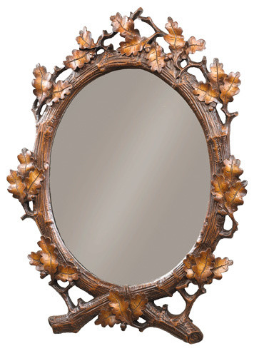Oval Oak Leaf Wall Mirror Rustic Wall Mirrors By