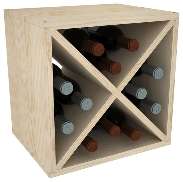 12 Bottle Stackable Wine Cube Unfinished Pine