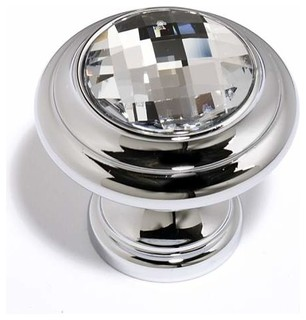 Alno Clear Swarovski Crystal Round Knob Polished Chrome C211-Clr/Pc - Traditional - Cabinet And ...