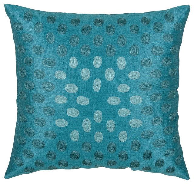 Peacock Blue Throw Pillow : Embroidered Peacock Blue Pillow Cover (18