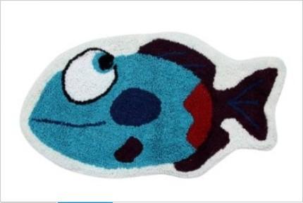 Blue fish 40 x 75 cm bath mat or children rug modern for Fish bath mat