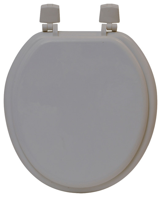 Round Molded Wood Toilet Seat Solid Brown Glaze 15 5 L X
