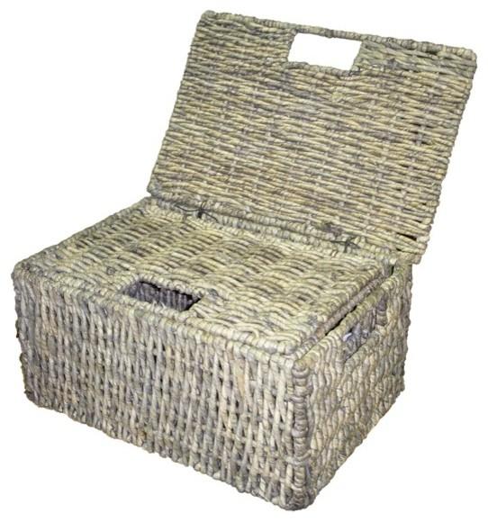 Woven Grass Grey Rectangular Lidded Storage Baskets (Set of 2) - Contemporary - Baskets - by ...