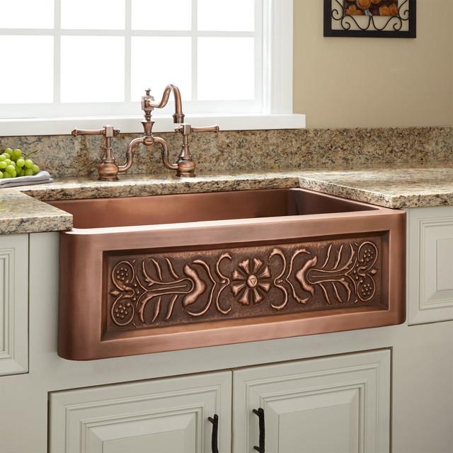 "30"" Flower Motif Copper Farmhouse Sink - Transitional - Kitchen Sinks - by Signature Hardware"