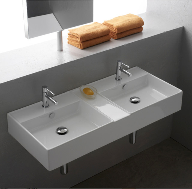 ... Wall Mounted or Vessel White Ceramic Sink contemporary-bathroom-sinks