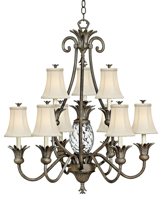 Modern Tropical Chandelier: Hinkley Plantation Collection Two Tier Chandelier