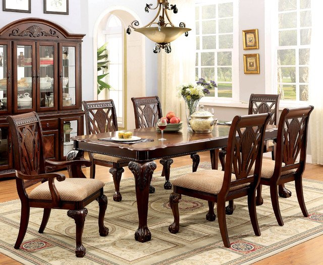 Furniture Of America Ranfort Formal 7 Piece Cherry Dining Set Contemporary