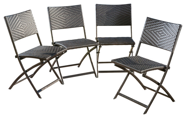Jason Outdoor Brown Wicker Folding Chair Set of 4 Contemporary Outdoor F