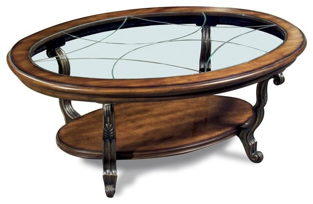 Ambrosia Oval Coffee Table In Terra Sienna Finish Contemporary Coffee Tables