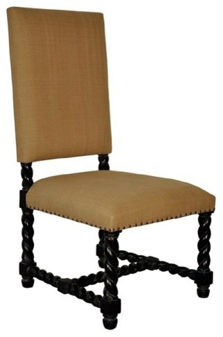 Noir Furniture Charles Side Chair In Hand Rubbed Black Gcha158hb Eclectic Dining Chairs