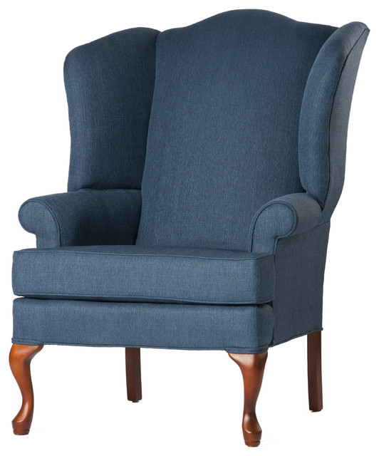 Crawford wingback chair denim blue 28x35x42 for Comfortable wingback chair