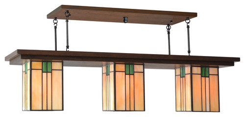 This Craftsman Chandelier by Jamul Lighting Mission Studio  is typical of the style, with simple geometry and detailed artisan glass.