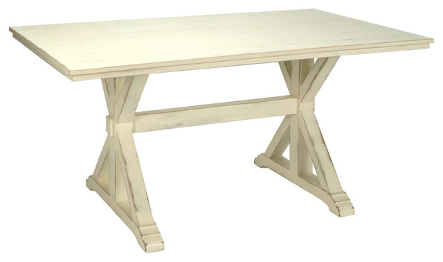 Trestle table antique white distressed 96 x36 for Distressed white dining table