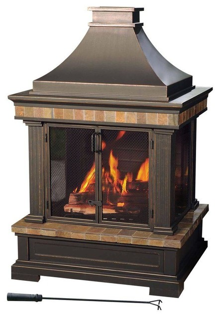 Sunjoy Outdoor Fire Pits Amherst 35 In Wood Burning Outdoor Fireplace Contemporary Indoor