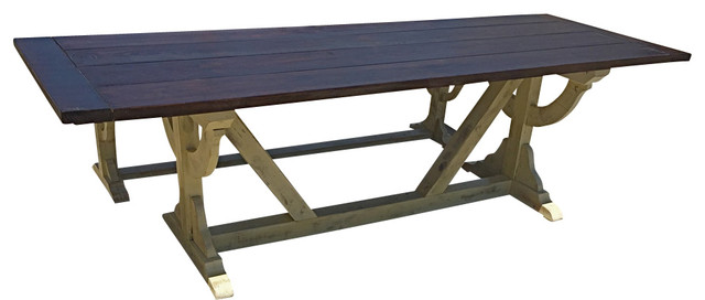 Distressed Rustic Curved Trestle Table With Bench 84  : farmhouse outdoor dining sets from houzz.com size 640 x 272 jpeg 31kB