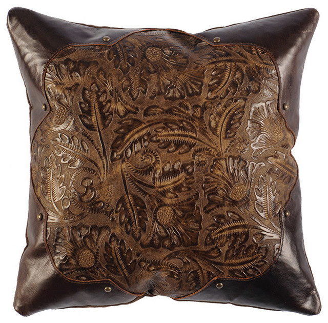 Decorative Leather Pillow : Cosmo Stallion Leather Pillow, 16x16 with Fabric Back - Rustic - Decorative Pillows - by Wooded ...