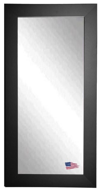 American Made Black Satin Wide Full Length Mirror