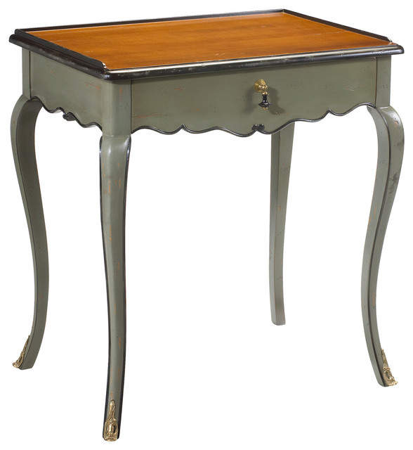 Sade French Country Cherry Wood Grey Blue Side End Table Traditional Side Tables End