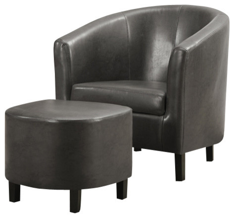 Charcoal Grey Leather Look Accent Chair And Ottoman