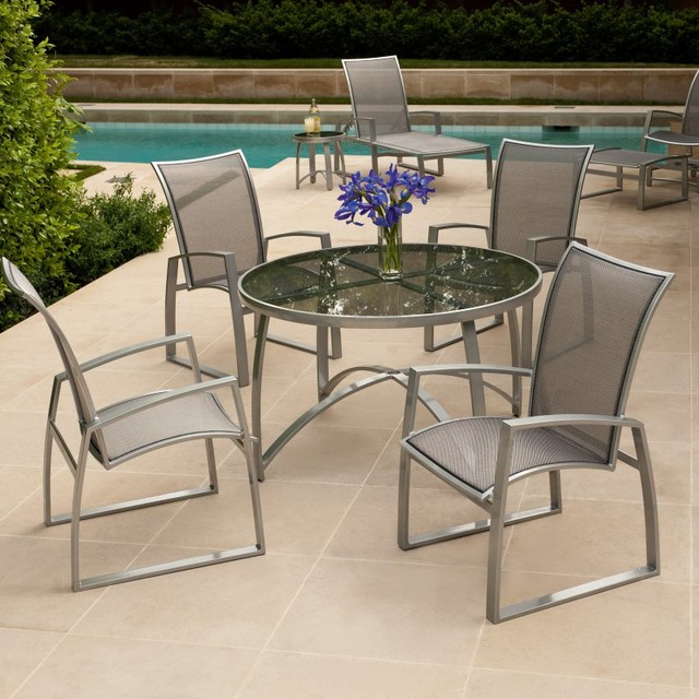 Woodard Wyatt Flex Patio Dining Set WD1289 Contemporary Patio Furniture