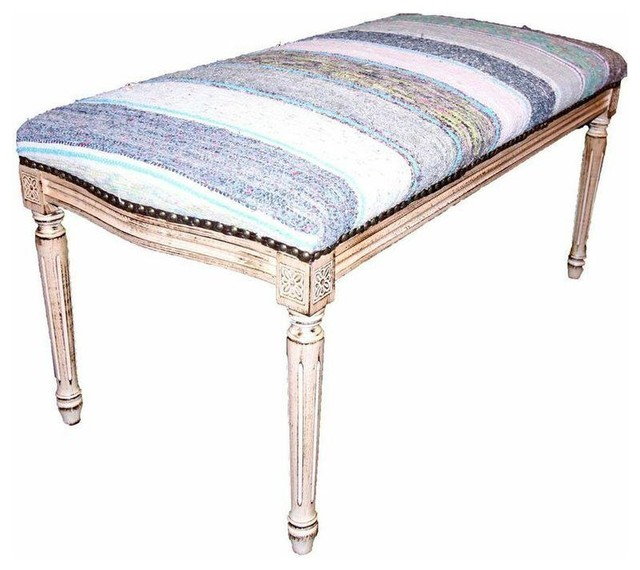 Pre-owned Bench Upholstered In Blue And Yellow Kilim