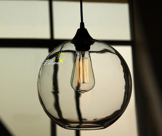 Modern Simple Orb Clear Glass Pendant Lighting Contemporary Pendant Light