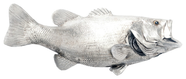 Largemouth bass fish silver leaf decorative bowls by for Silver bass fish